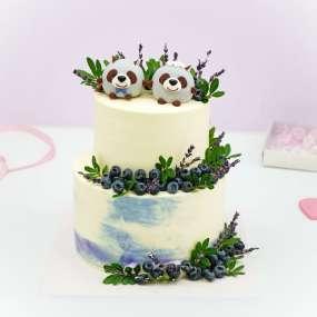 """Торт """"Свадебный с пандами"""""""