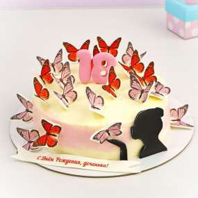 "Торт ""Девушка с бабочками"""
