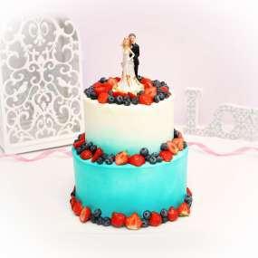 """Торт """"Свадебный с фарфоровой статуэткой"""""""