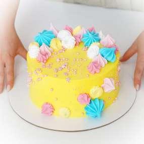 """Торт """"Желтый с меренгой"""""""