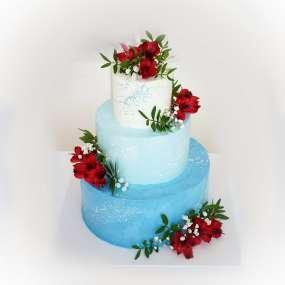 """Торт """"Градиент с живыми цветами"""""""
