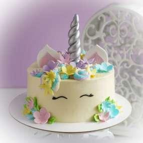"""Торт """"Единорог и цветы"""""""