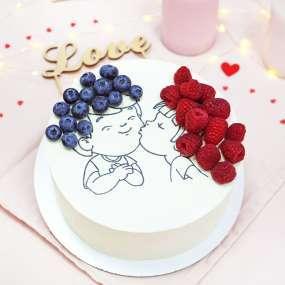 """Торт """"Влюблённые"""" с ягодами, 1 кг"""