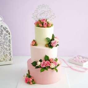 """Торт """"Бело-розовый с цветами"""""""