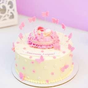 "Торт ""Малышка и бабочки"""