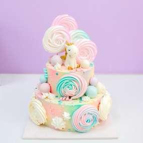 """Торт """"Единорог и разноцветные сладости"""""""