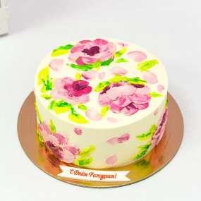 Белый торт кремовые цветы