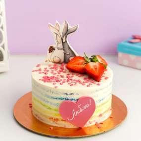 Розовый торт влюбленные зайки