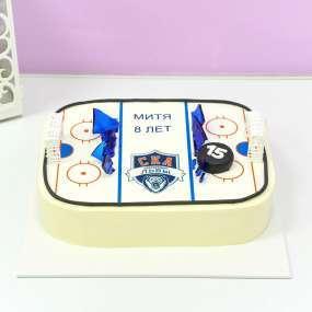 Белый торт хоккейная площадка