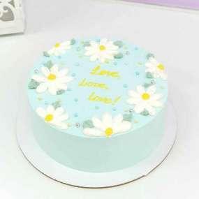 Торт с ромашками голубой