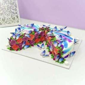 Торт с розами в разрезе