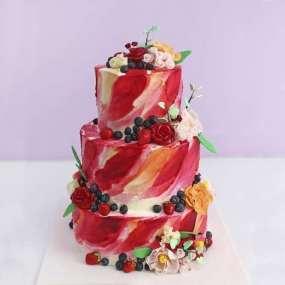 Цветной свадебный торт