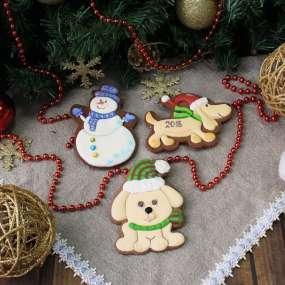 Имбирные Пряники: Снеговик, собака такса, собака в шарфике