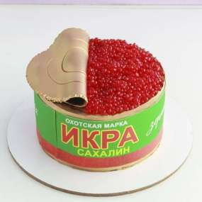 Торт в форме банки икры