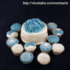 """Свадебный торт с пирожными """"Снежинки"""""""