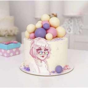 Торт розовый с девушкой