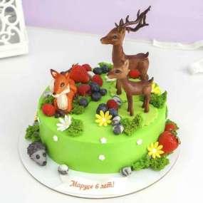 Торт с лисой и оленями