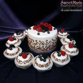 Торт « Ягоды на белом»