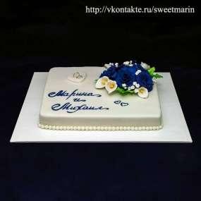"""Торт """"Синие цветы"""""""