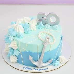 Торт с якорем голубой