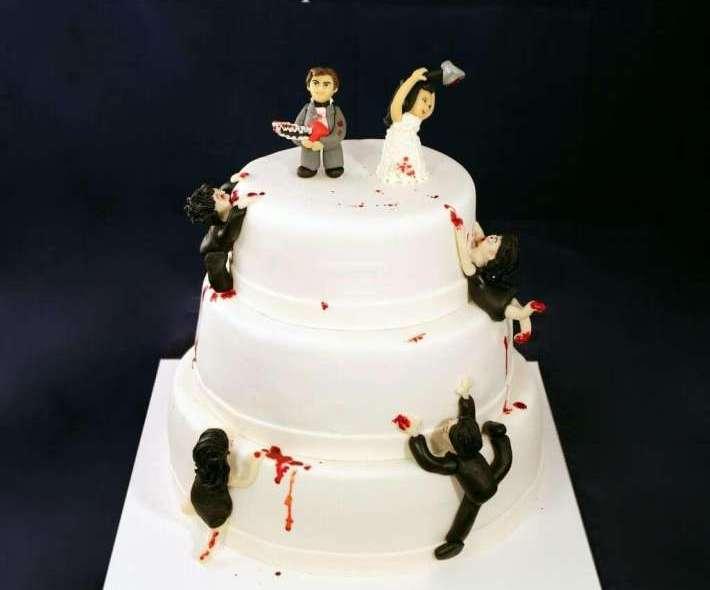 """Торт """"Свадьба в стиле Зомби"""""""