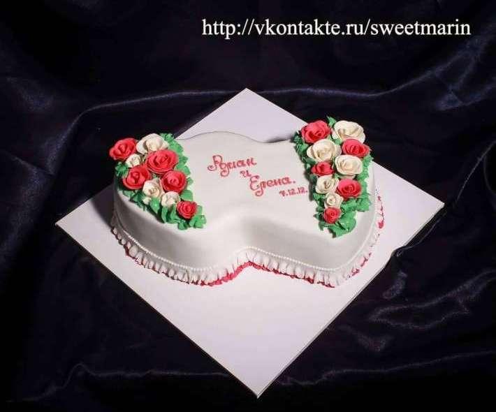 """Торт """"Два сердца и розы"""""""