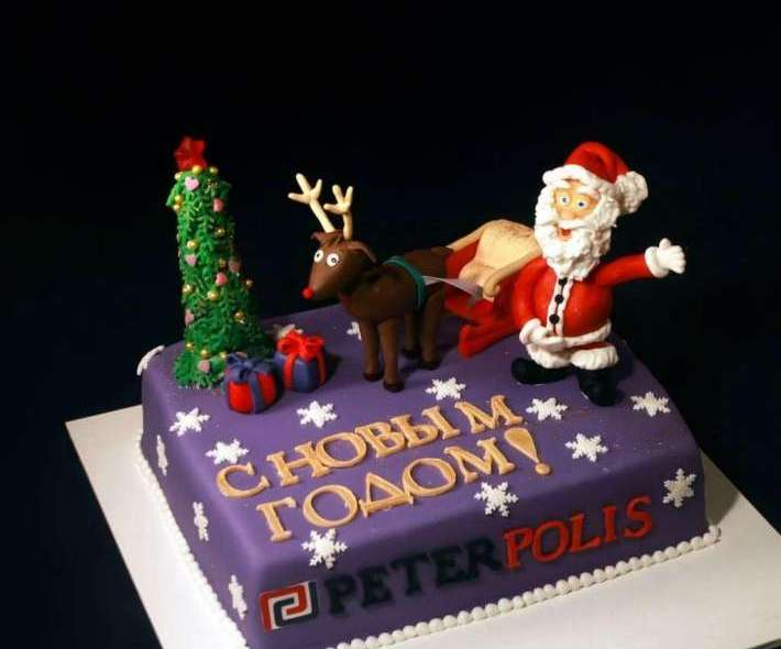 """Торт """"Новогодняя упряжка"""""""